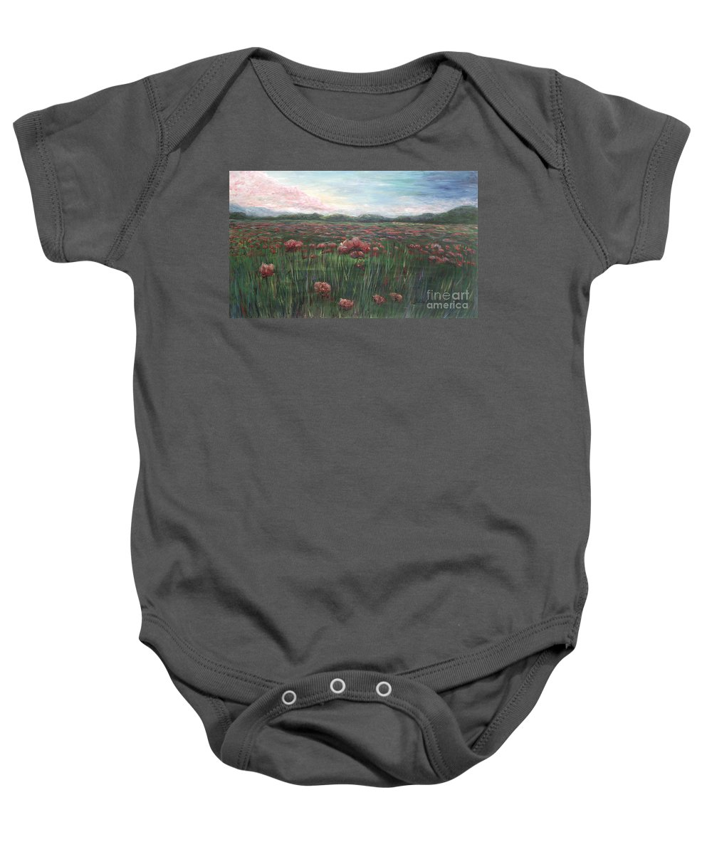 France Baby Onesie featuring the painting French Poppies by Nadine Rippelmeyer