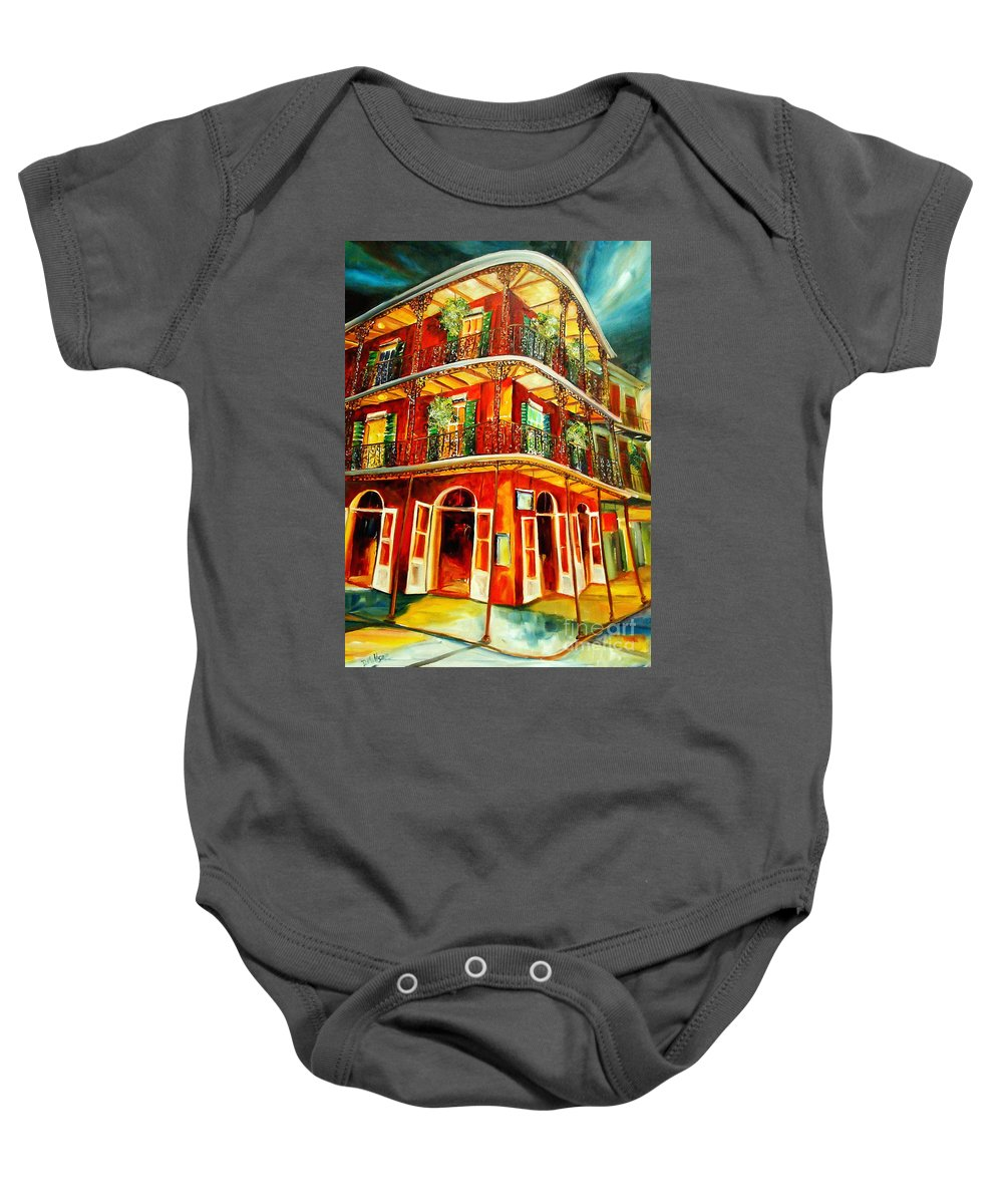 New Orleans Baby Onesie featuring the painting French Quarter Corner by Diane Millsap