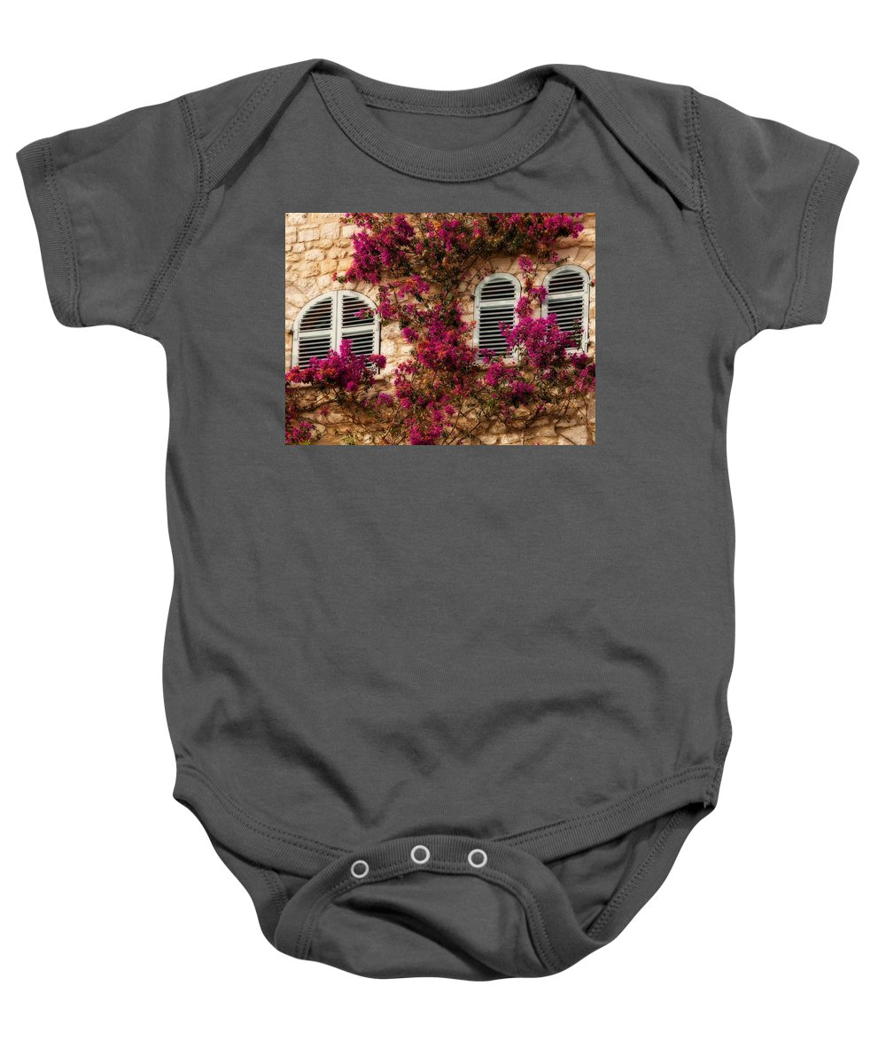 Window Baby Onesie featuring the photograph French Windows by Steven Sparks