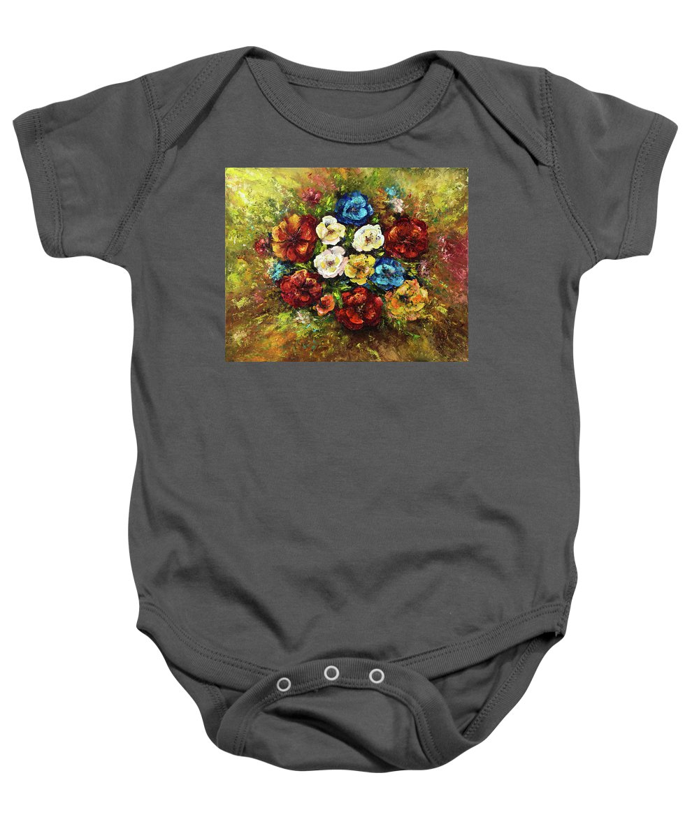 Abstract Baby Onesie featuring the painting Fresh Flowers by Boyan Dimitrov