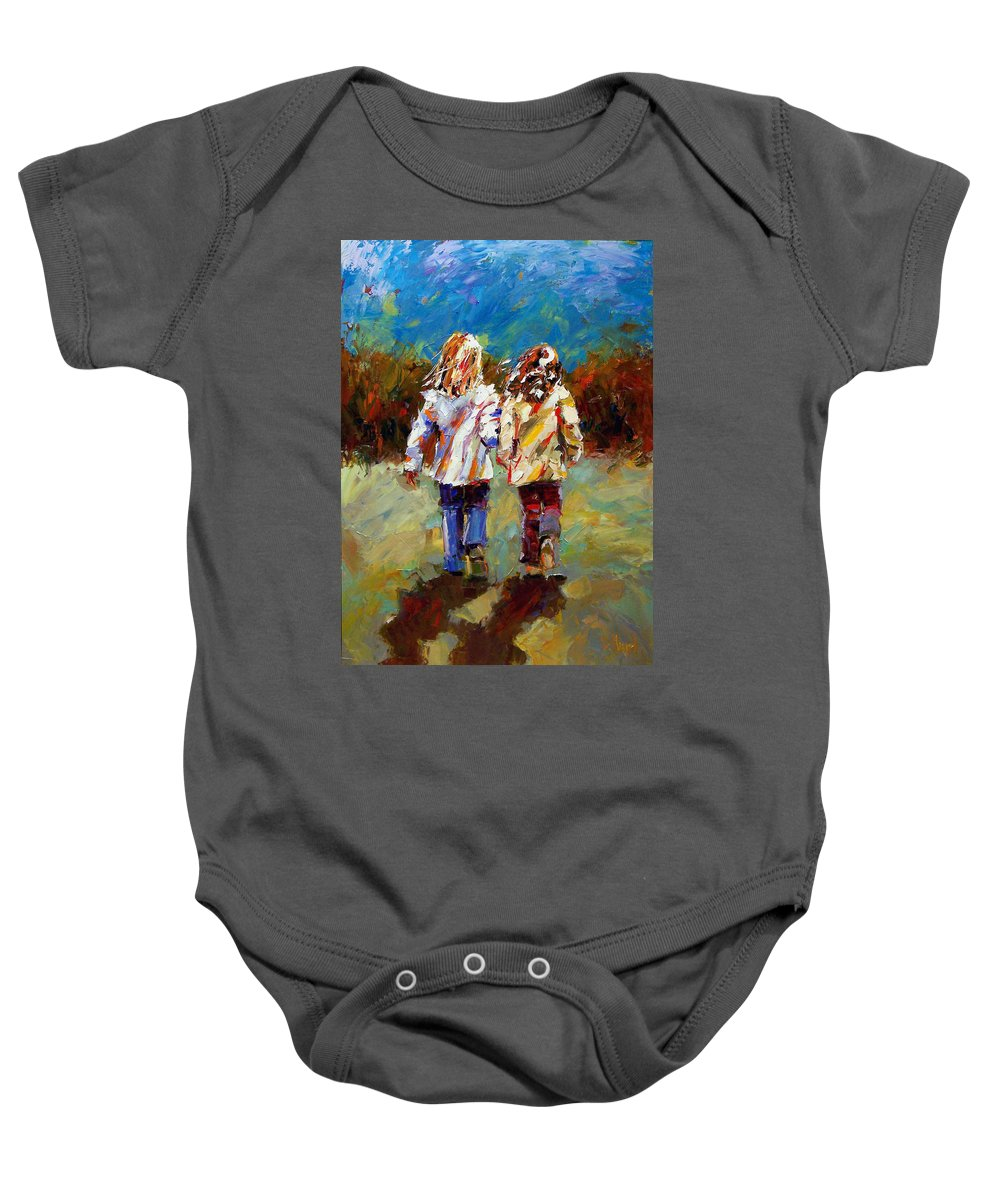 Girls Baby Onesie featuring the painting Friends Forever by Debra Hurd