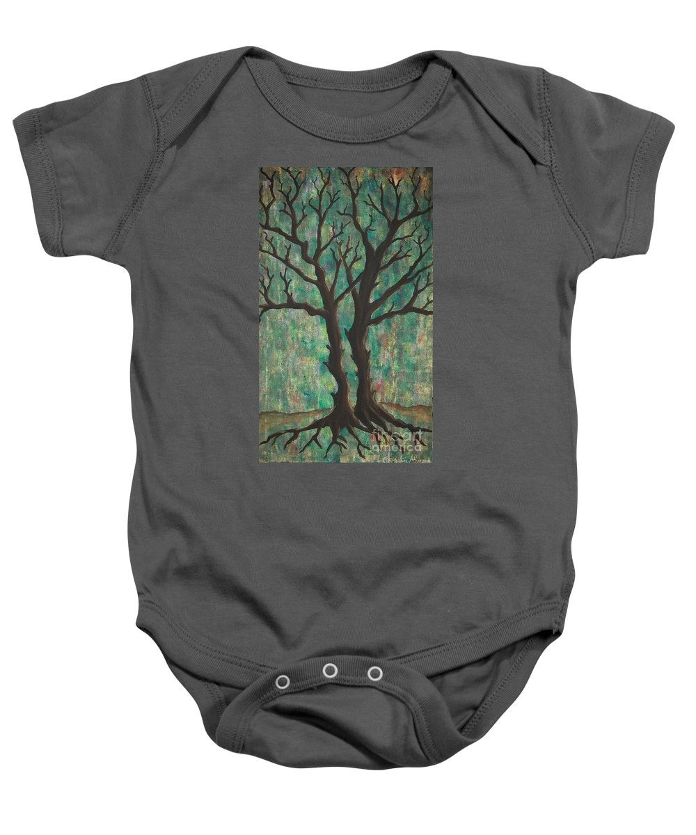 Trees Baby Onesie featuring the painting Friends by Jacqueline Athmann
