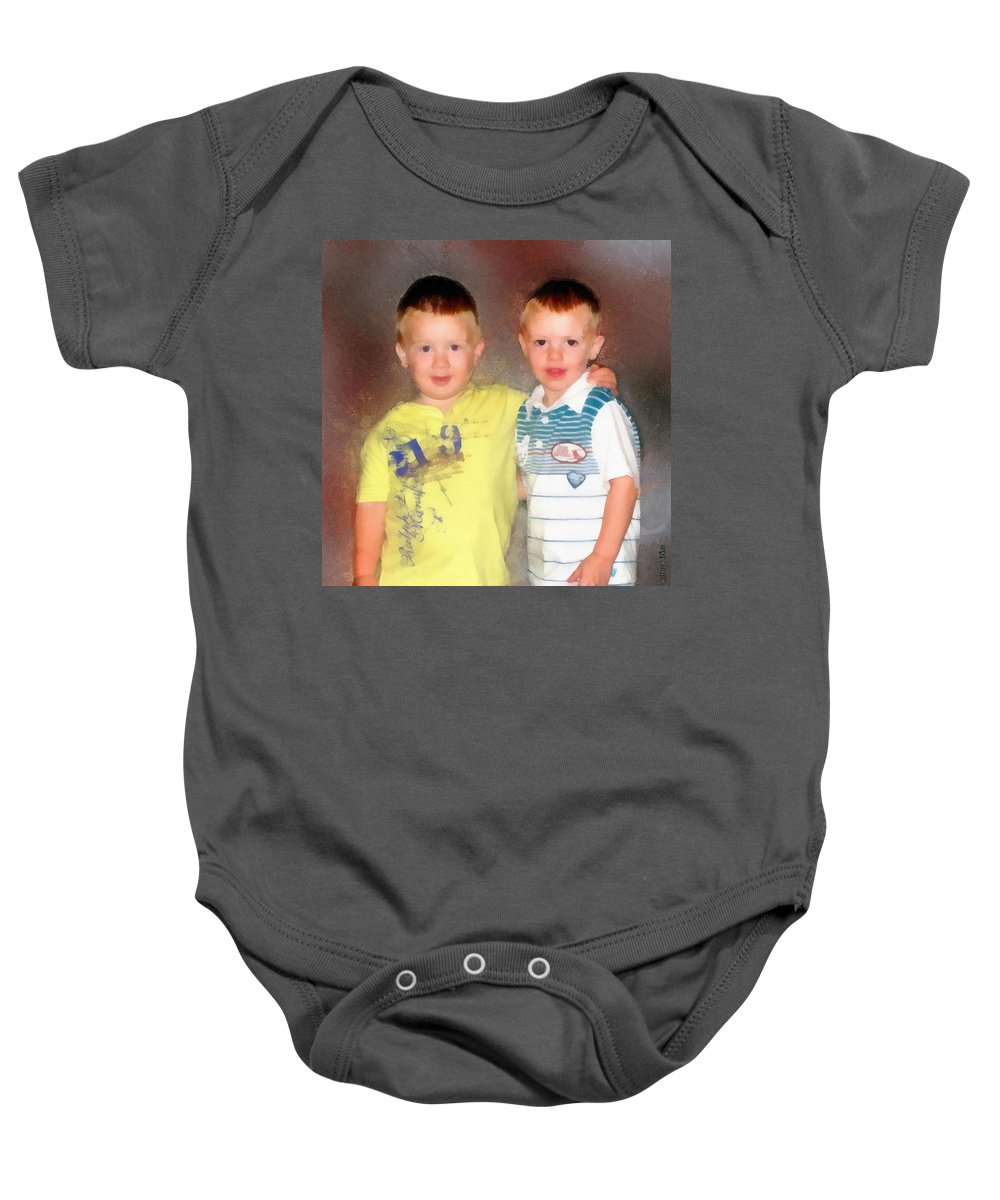 Friends Baby Onesie featuring the painting Friends by Jeffrey Kolker