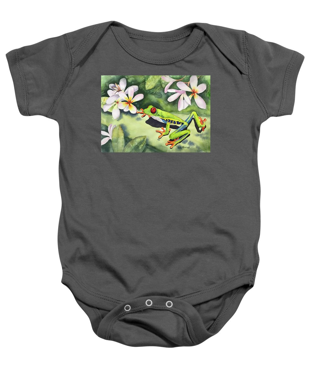 Frog Baby Onesie featuring the painting Frog And Plumerias by Hilda Vandergriff