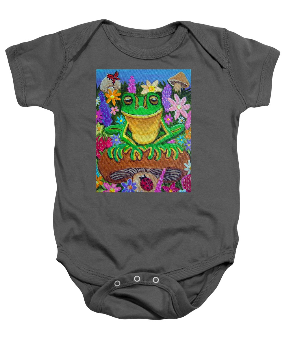 Frog Artwork Frog Painting Whimsical Artwork Green Frogs Baby Onesie featuring the painting Frog On Mushroom by Nick Gustafson