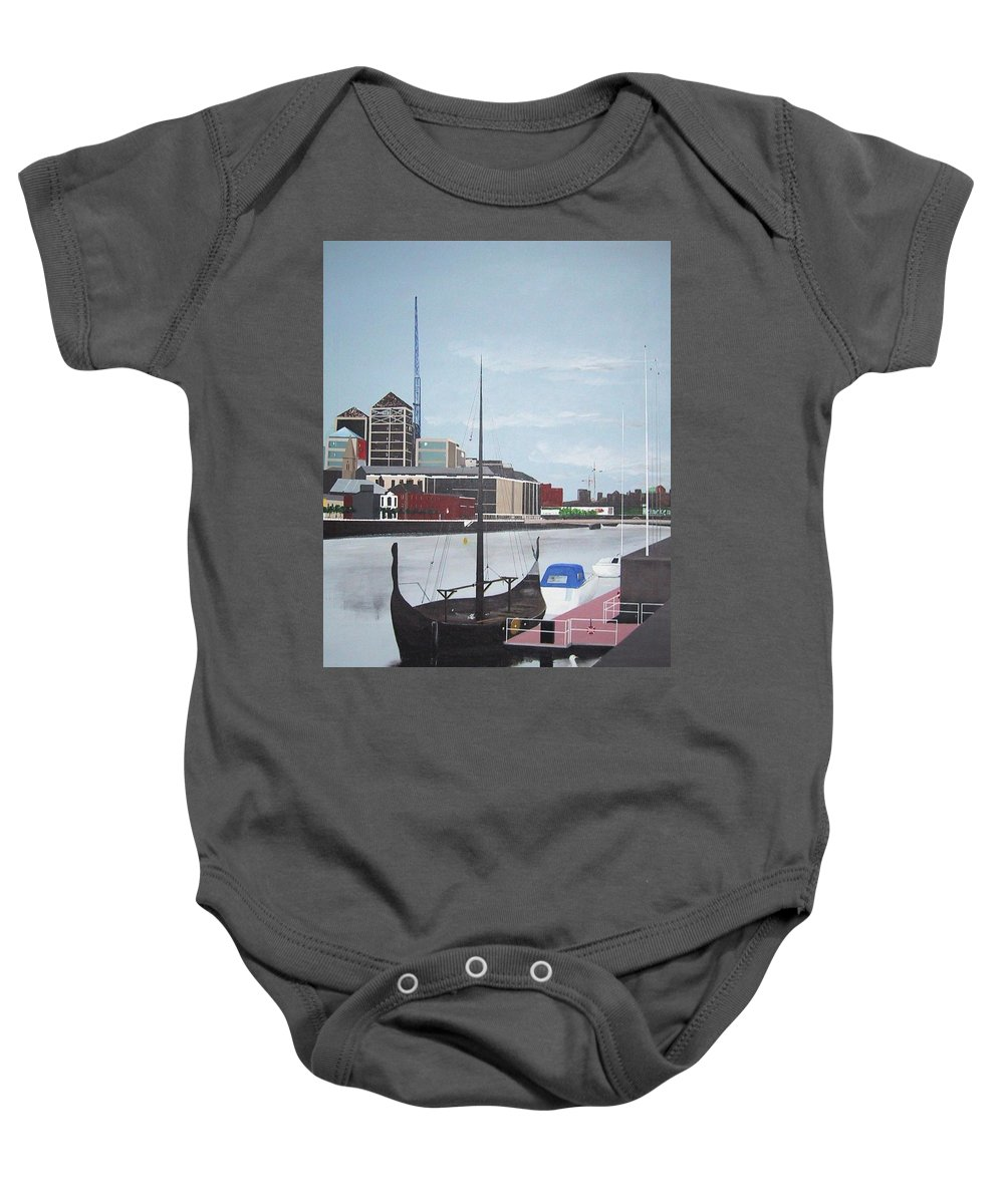 Longboat Baby Onesie featuring the painting From Longboats To Pyramids by Tony Gunning