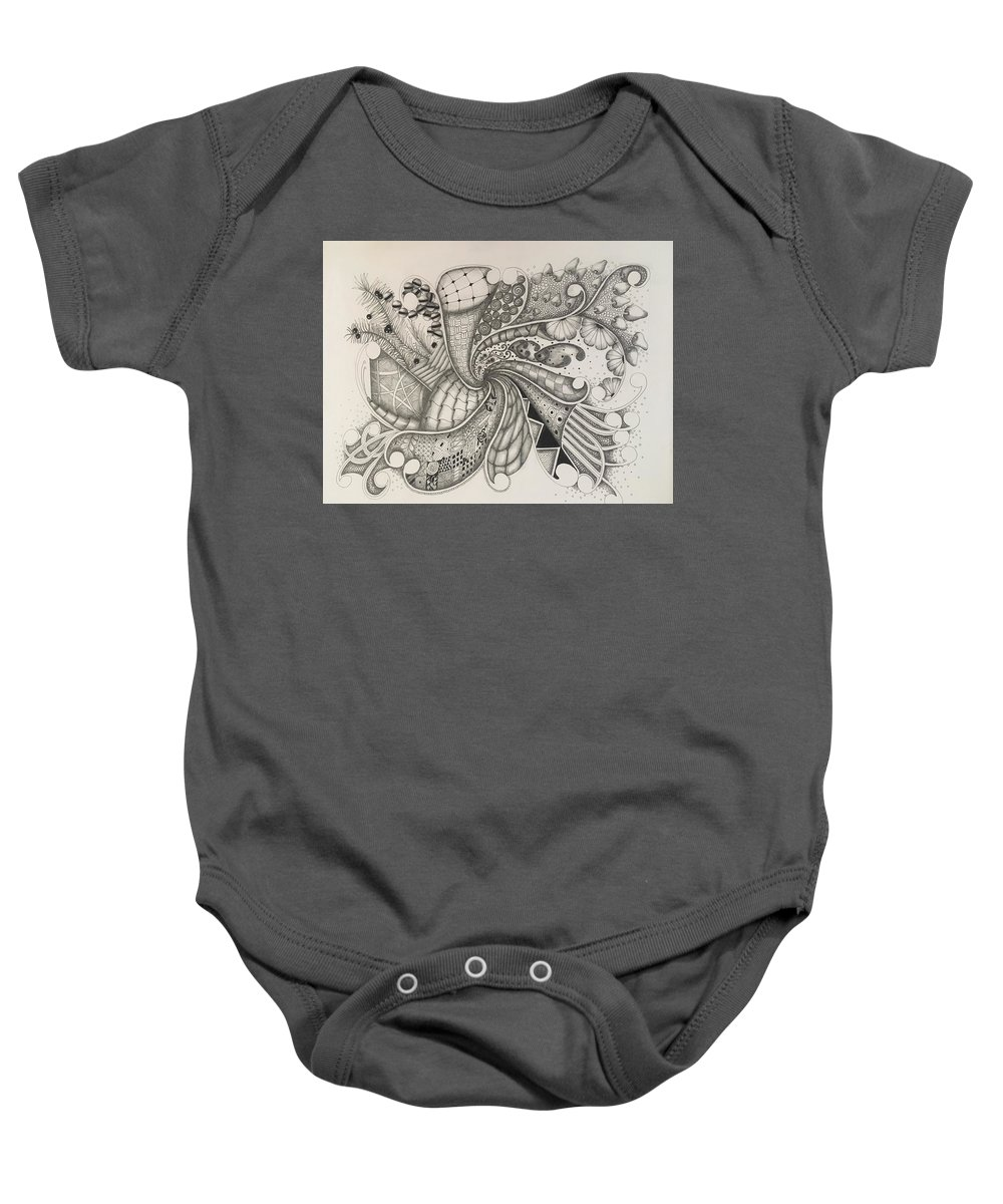 Abstract Baby Onesie featuring the drawing From The Middle by Rebecca Bowman