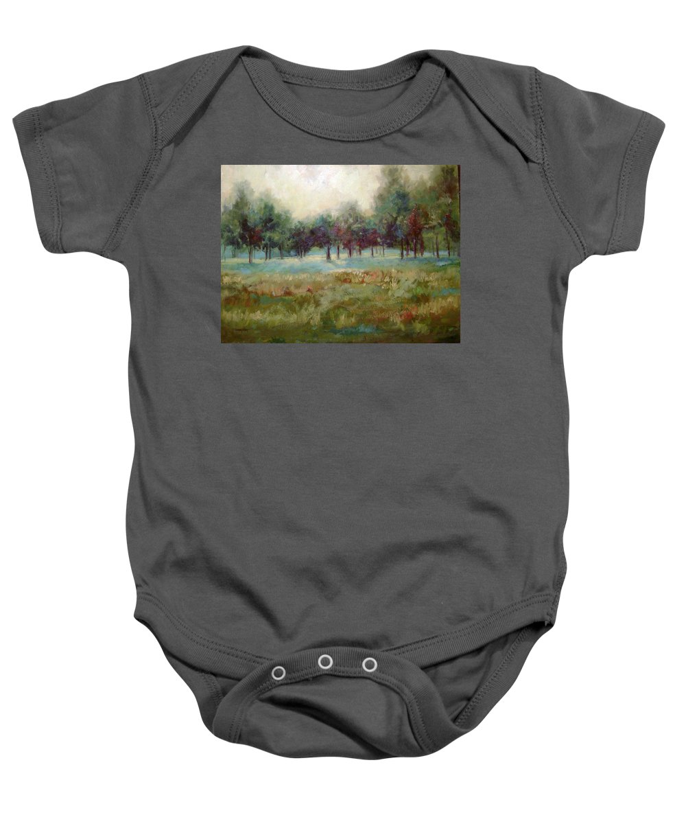 Country Scenes Baby Onesie featuring the painting From The Other Side by Ginger Concepcion