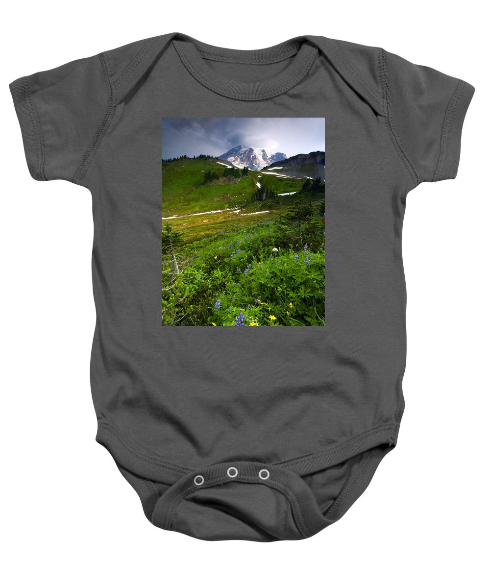 Rainier Baby Onesie featuring the photograph From The Top by Mike Dawson
