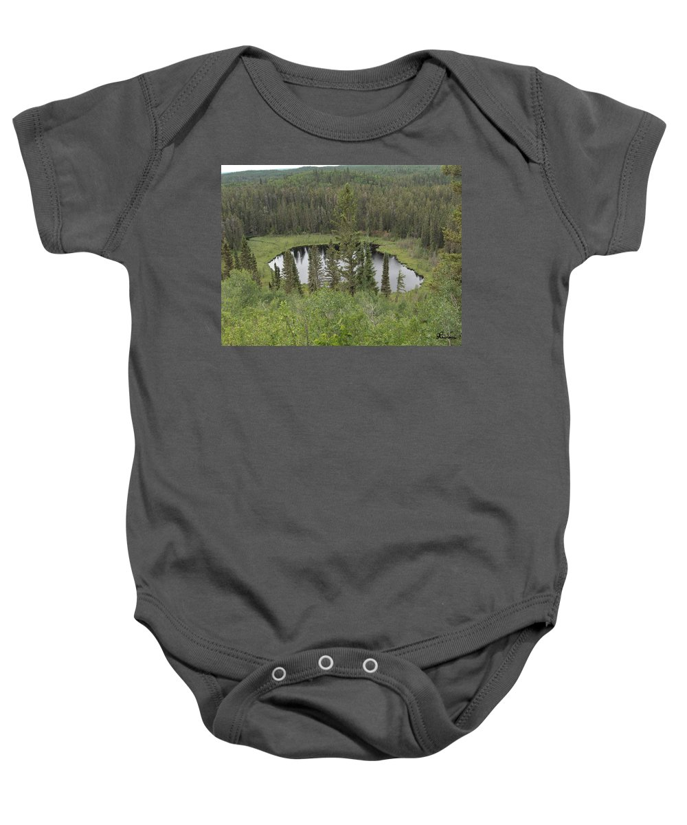 Esker Hills Saskatchewan Hanson Lake Road Lake Forest Water Trees Evergreen Scenery Wild Pond Baby Onesie featuring the photograph From The Top Of Esker Hills by Andrea Lawrence
