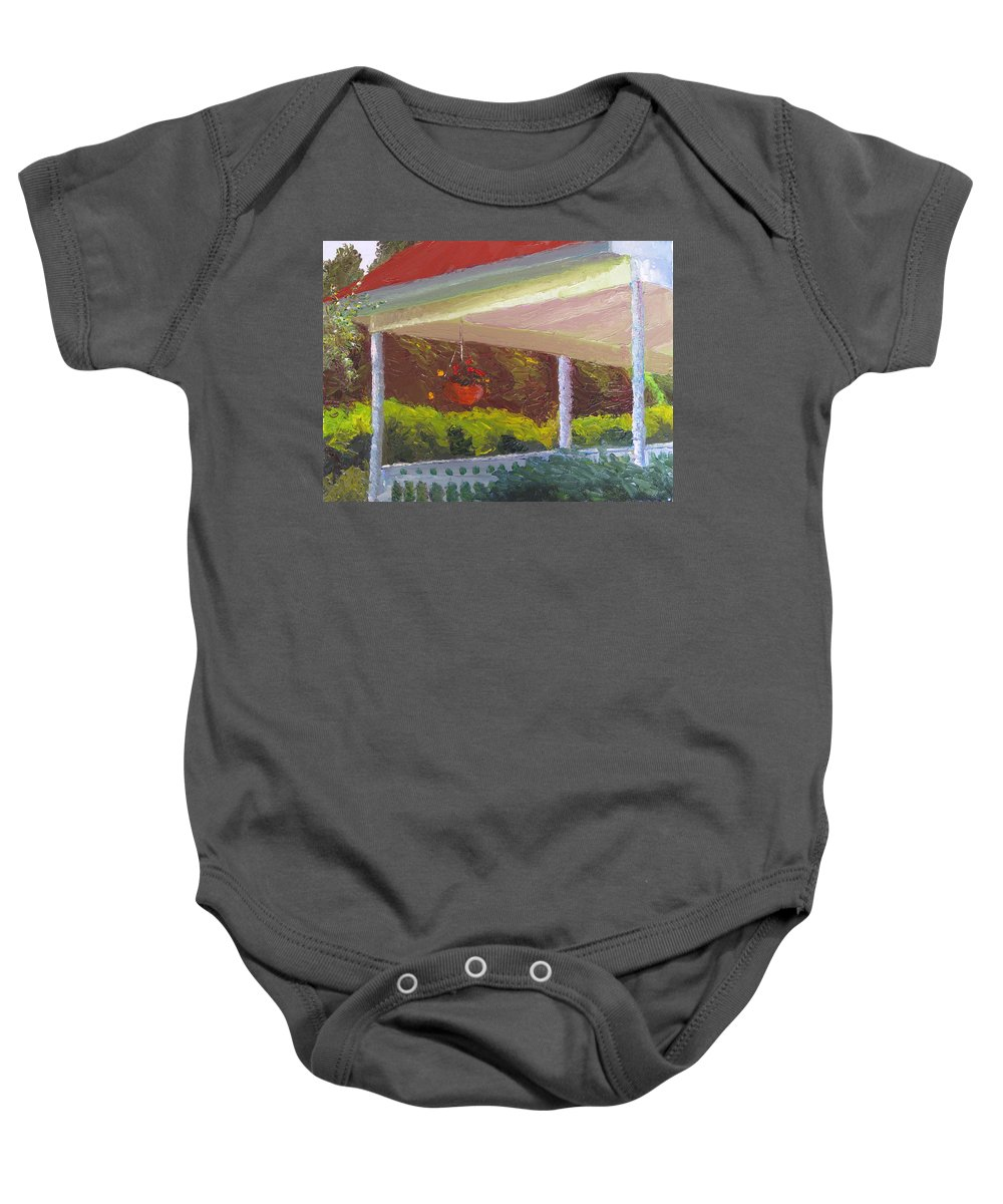 Landscape Painting Baby Onesie featuring the painting Front Porch - Morning by Lea Novak