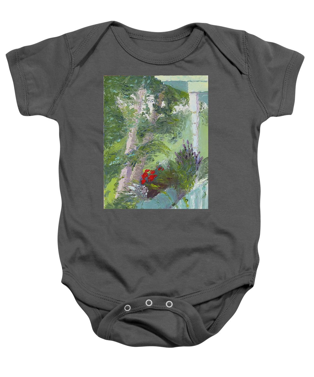 Porch Painting Baby Onesie featuring the painting Front Porch View by Lea Novak