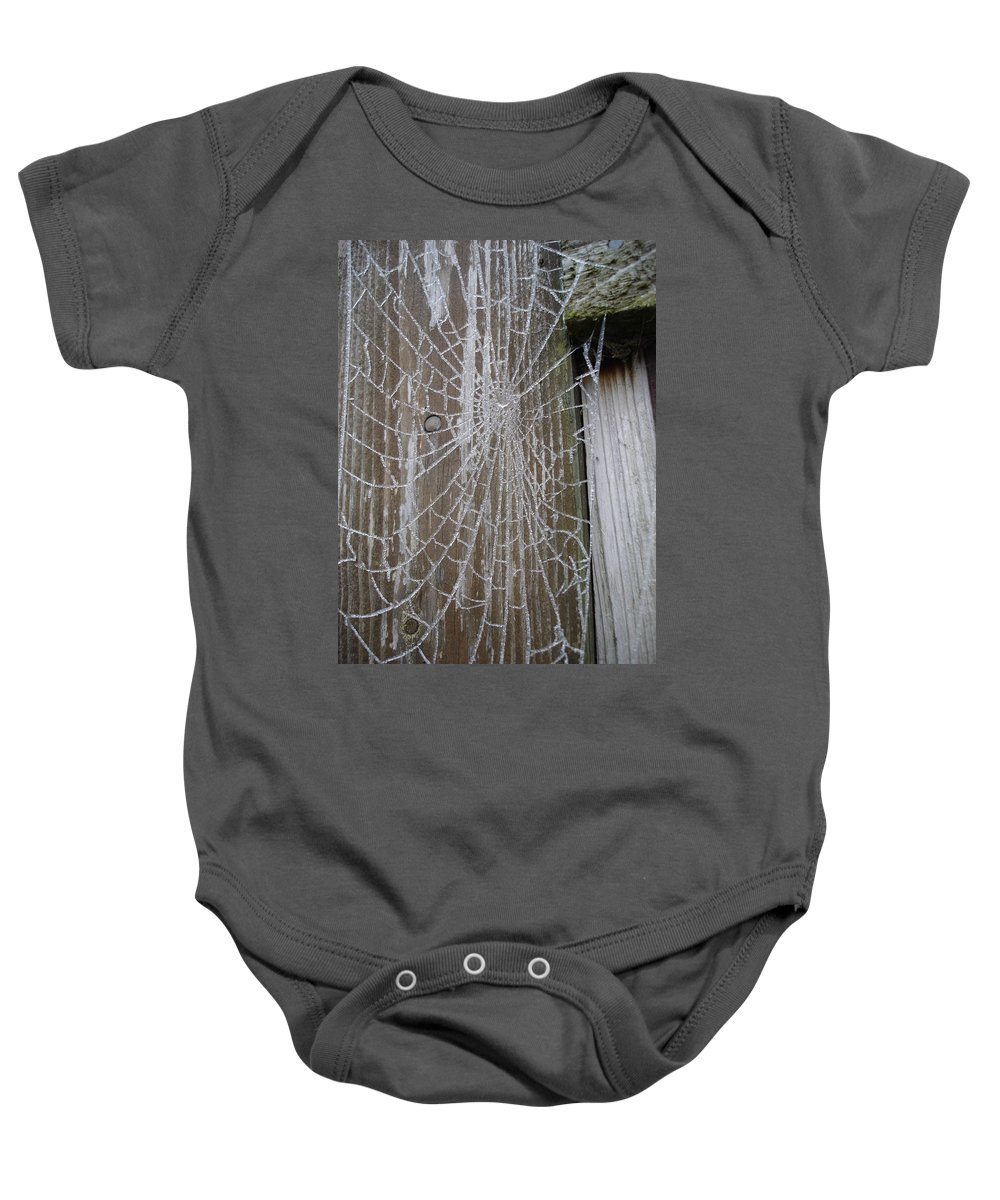 Winter Baby Onesie featuring the photograph Frosty Web by Susan Baker