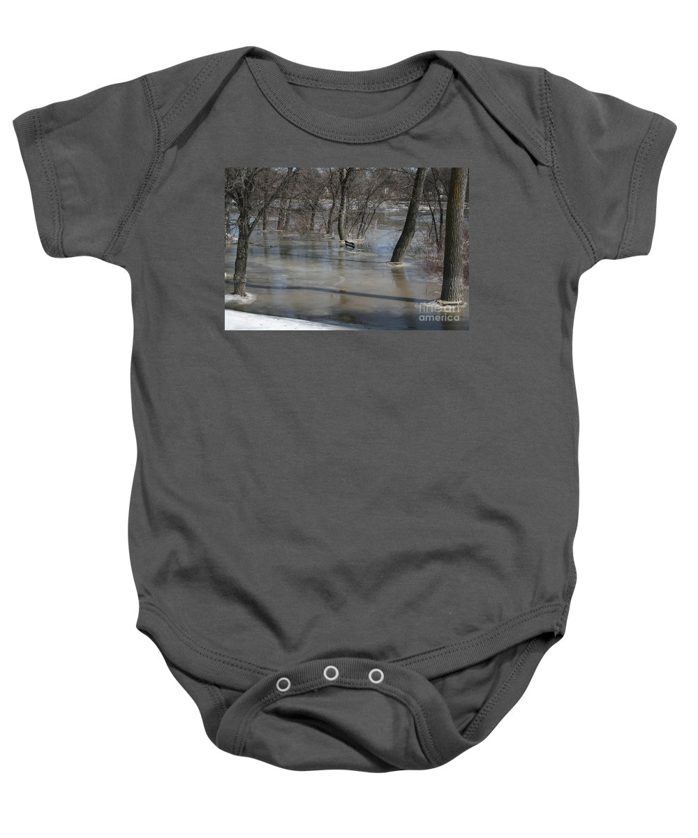 Spring Baby Onesie featuring the photograph Frozen Floodwaters by Mary Mikawoz