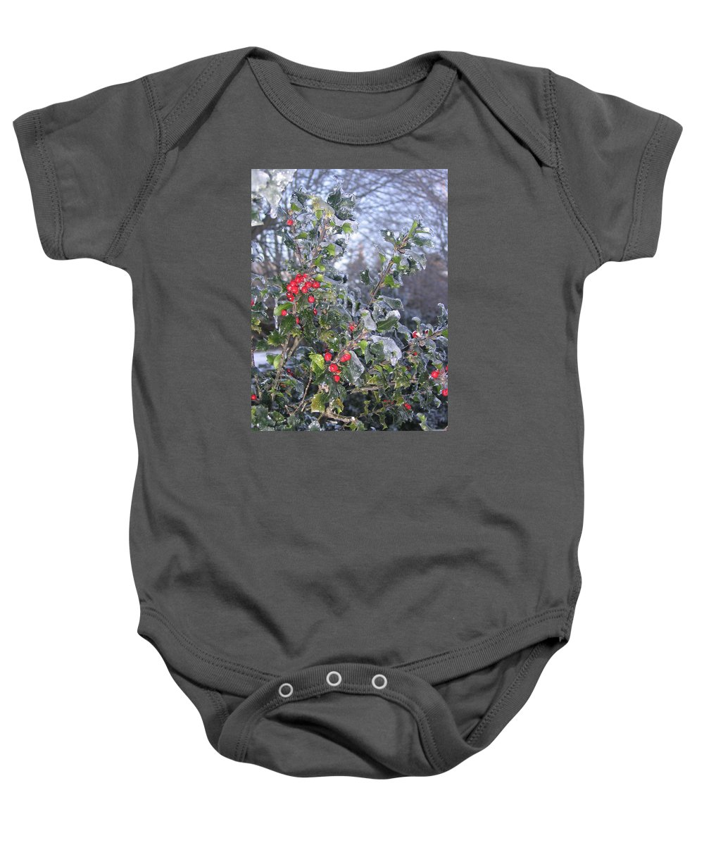 Winter Baby Onesie featuring the photograph Frozen In Time by Paula Emery
