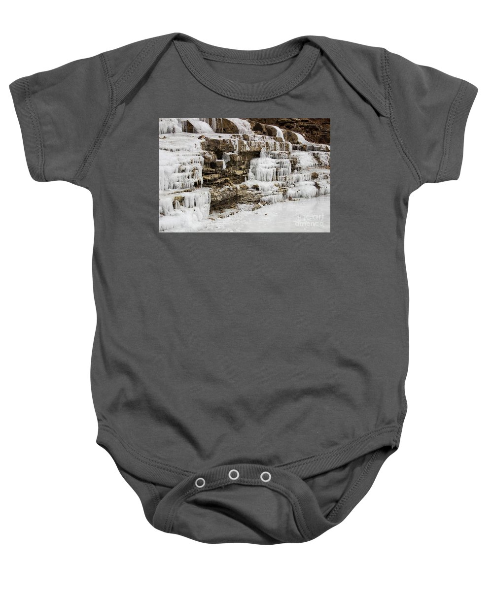 Spillway Baby Onesie featuring the photograph Frozen Waterfall by Ty Shults