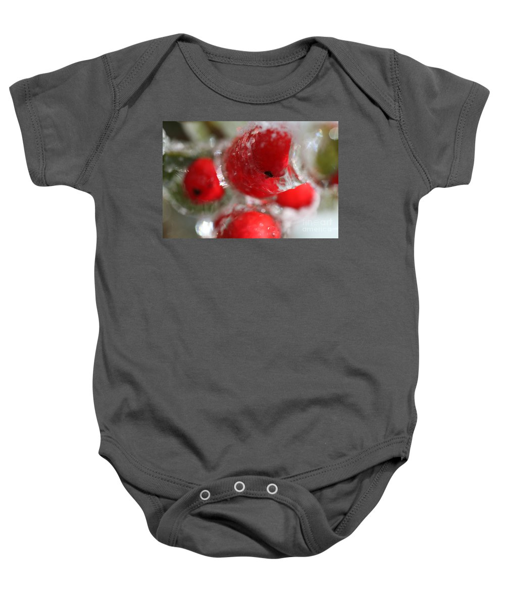 Berries Baby Onesie featuring the photograph Frozen Winter Berries by Nadine Rippelmeyer