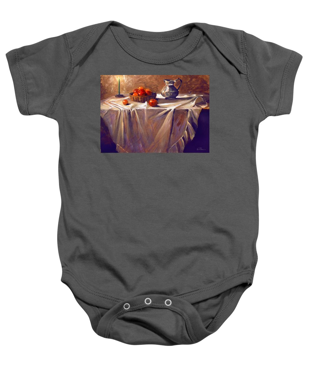 Still Life Baby Onesie featuring the painting Fruit By Candle Light by Nancy Griswold