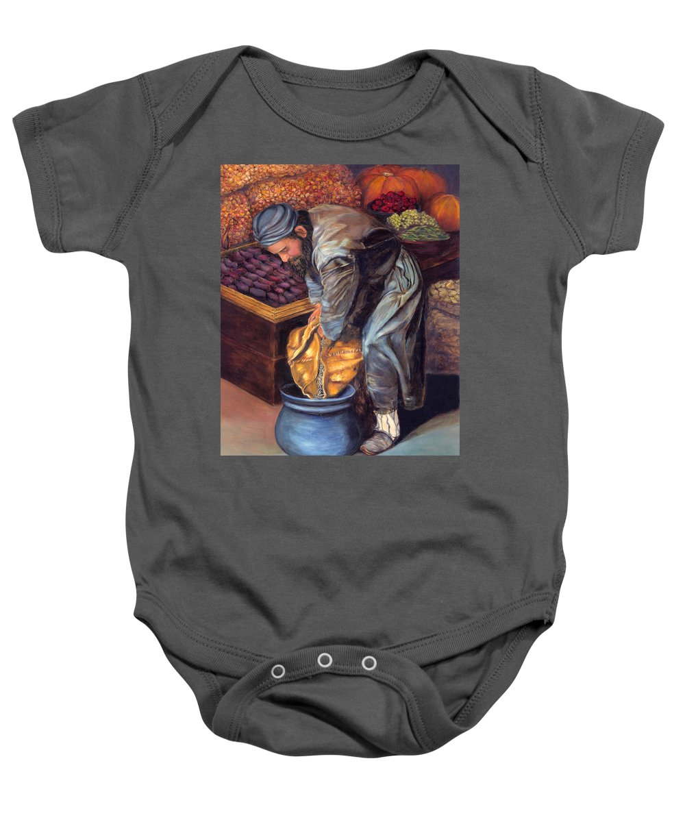 Figurative Painting Baby Onesie featuring the painting Fruit Vendor by Portraits By NC