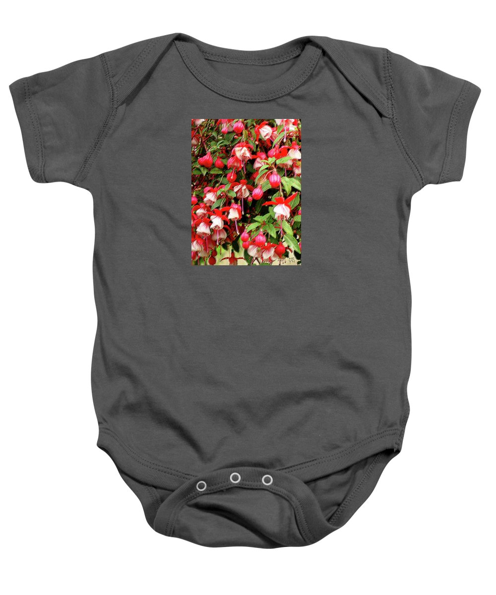Group Baby Onesie featuring the mixed media Fuchsia Pastel by Shirley Heyn