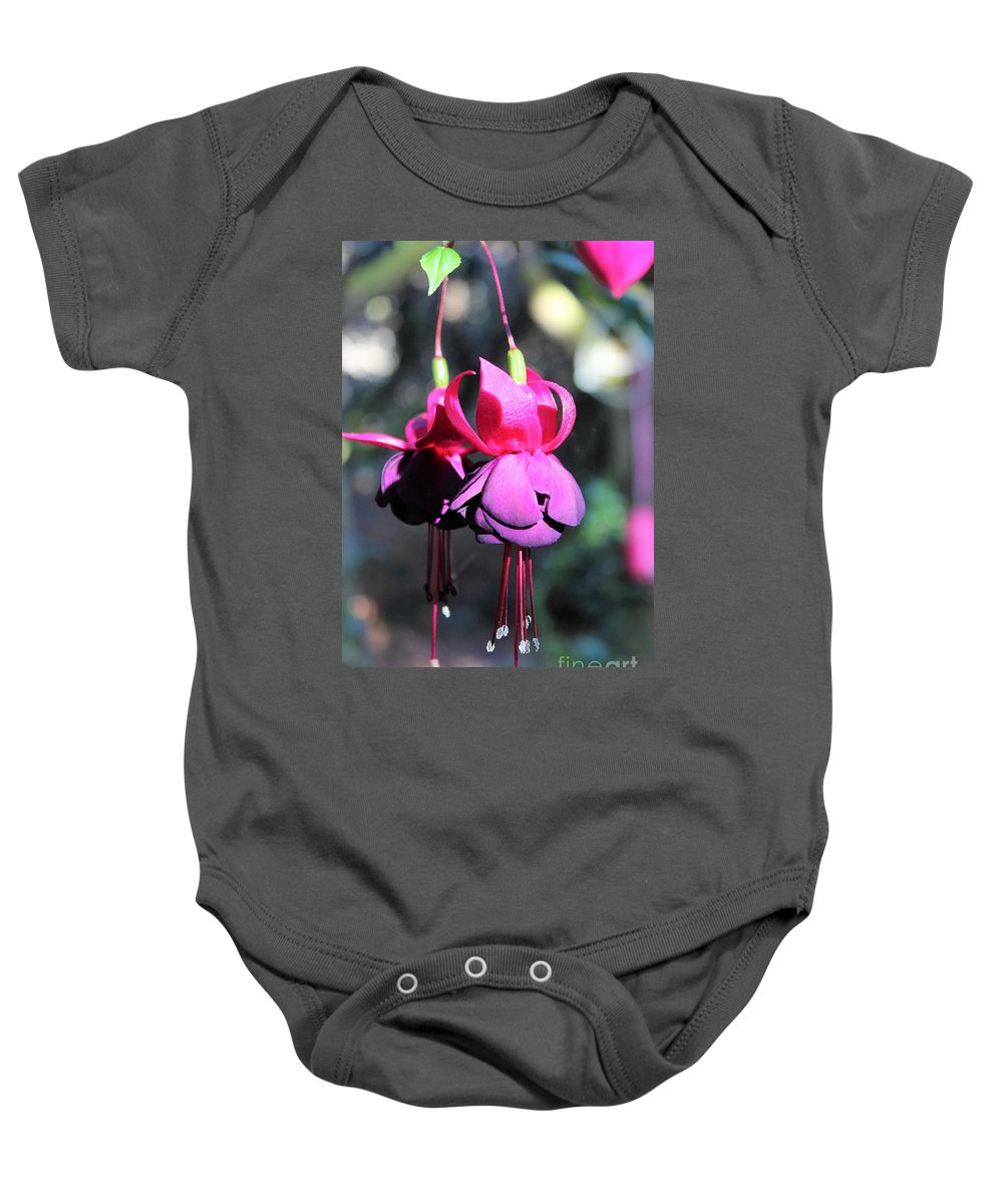 Fuchsias Baby Onesie featuring the photograph Fuchsias Indian Maid by Jane Powell
