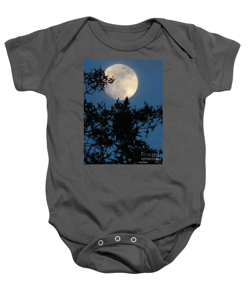 Patzer Baby Onesie featuring the photograph Full Moon by Greg Patzer