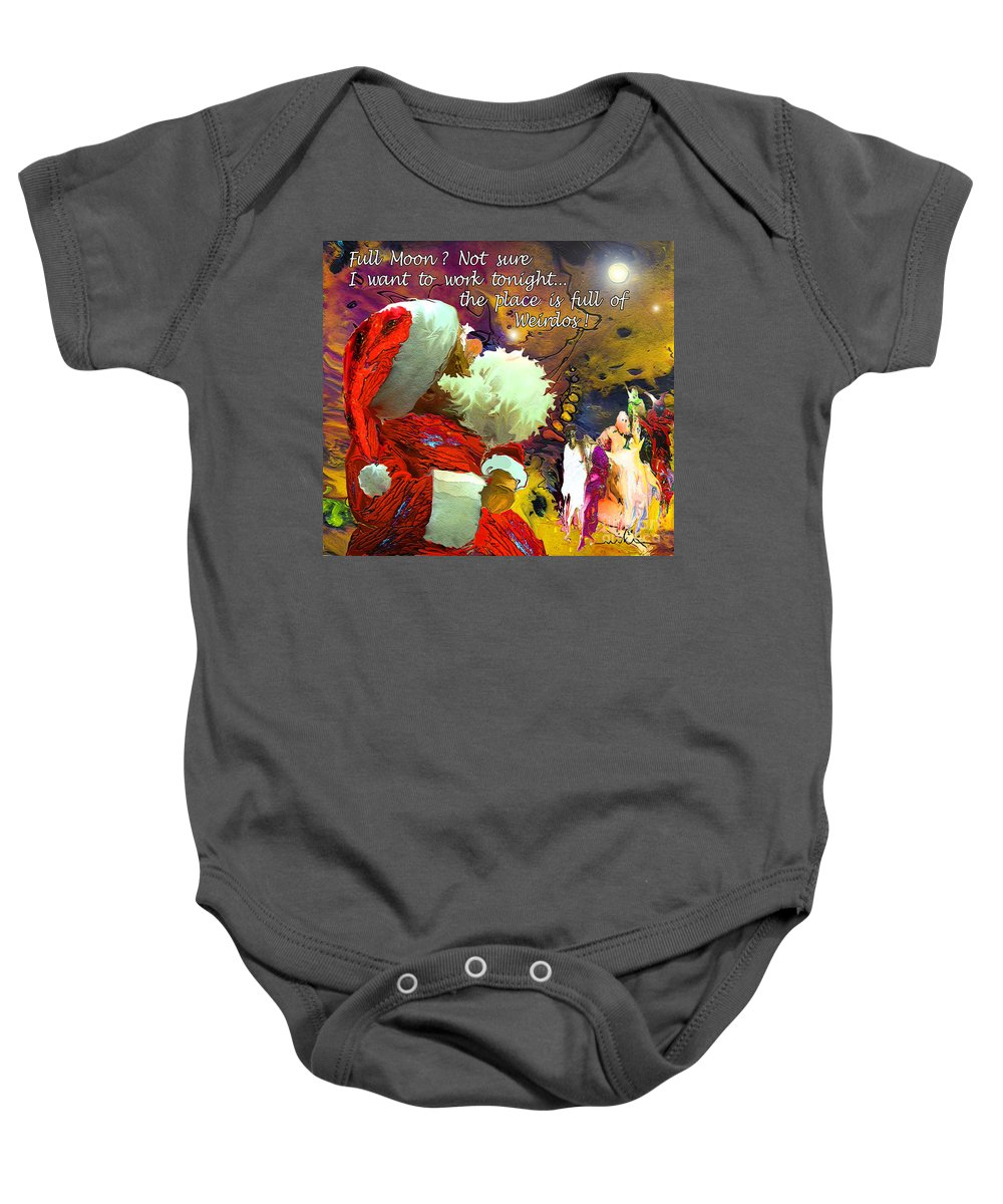 Fantasy Painting Baby Onesie featuring the painting Full Moon by Miki De Goodaboom