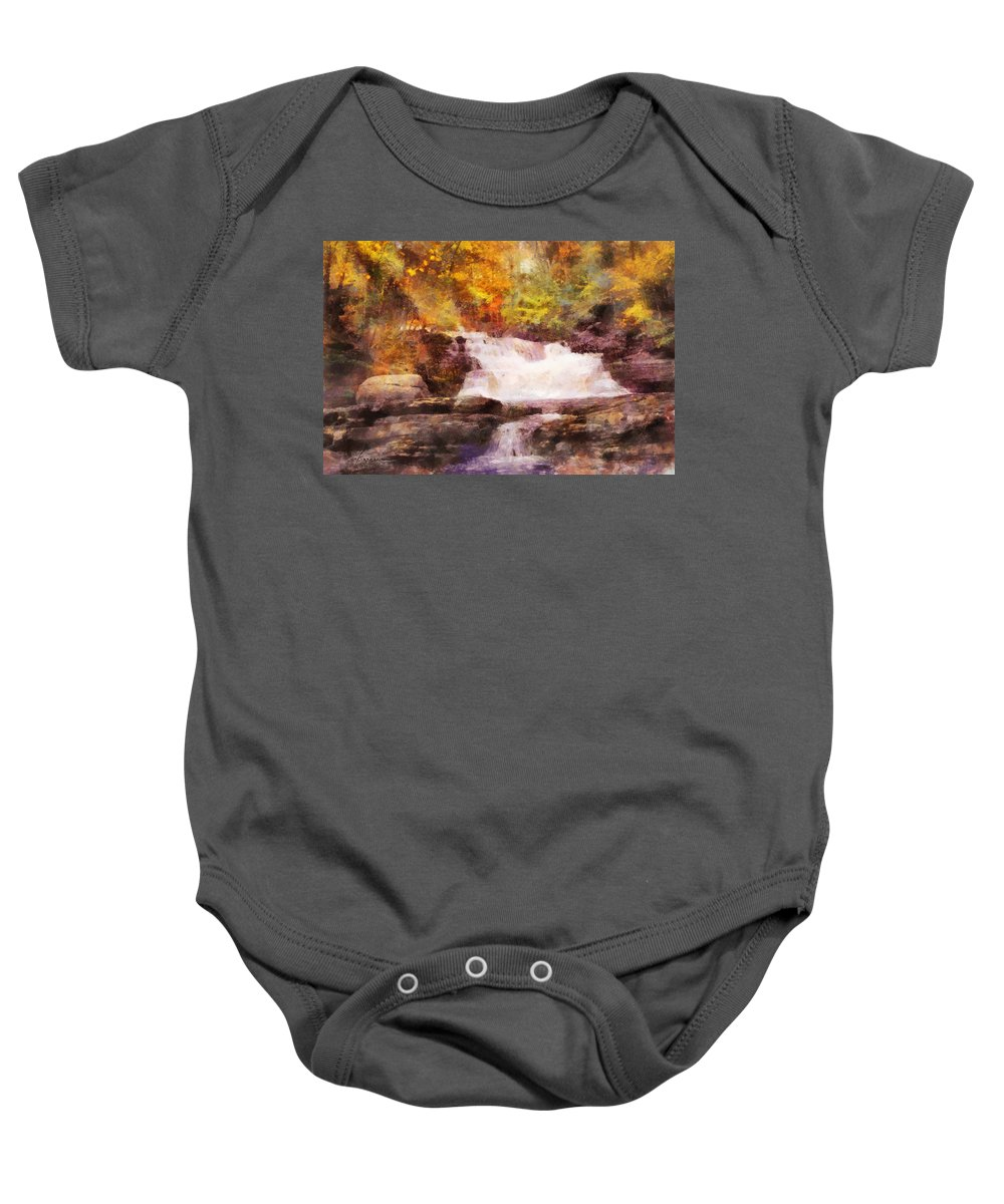 Fall Baby Onesie featuring the digital art Fuller Falls by Francesa Miller