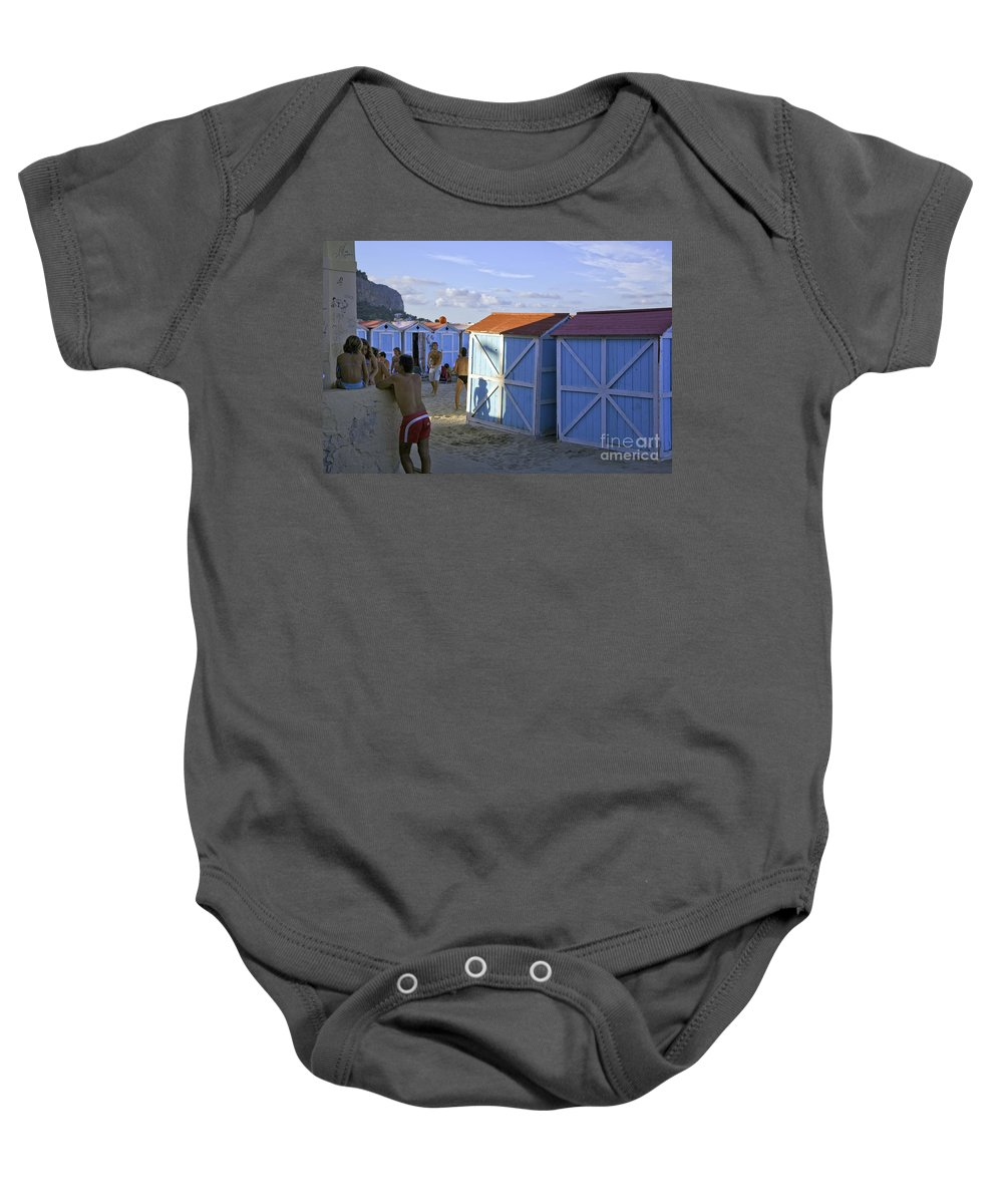 Cabana Baby Onesie featuring the photograph Fun At Mondello Beach by Madeline Ellis