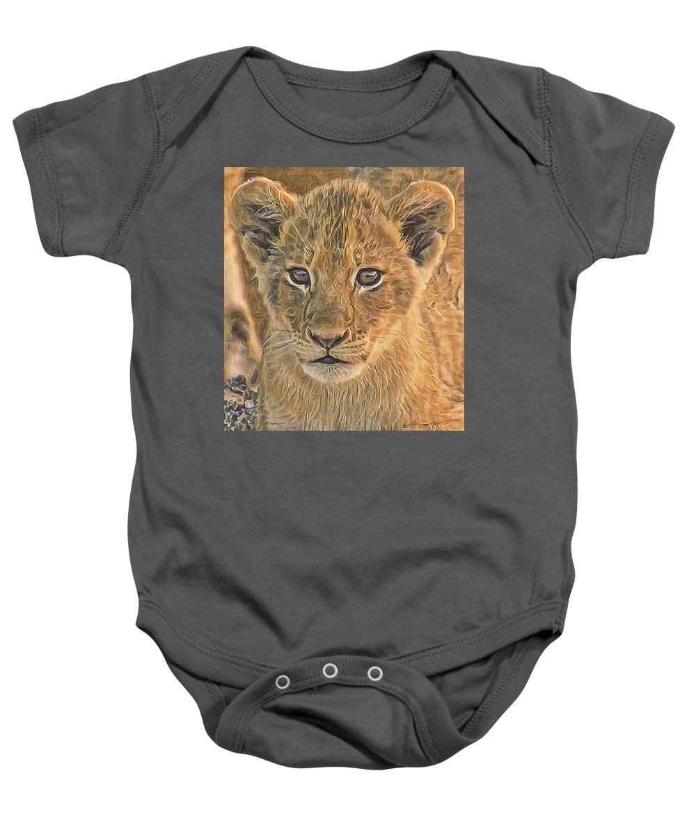 Lion Baby Onesie featuring the photograph Fuzzy Cubby by Gini Moore