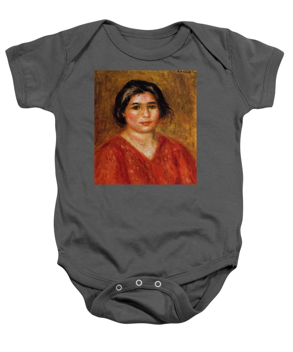 Gabrielle Baby Onesie featuring the painting Gabrielle In A Red Blouse 1913 by Renoir PierreAuguste