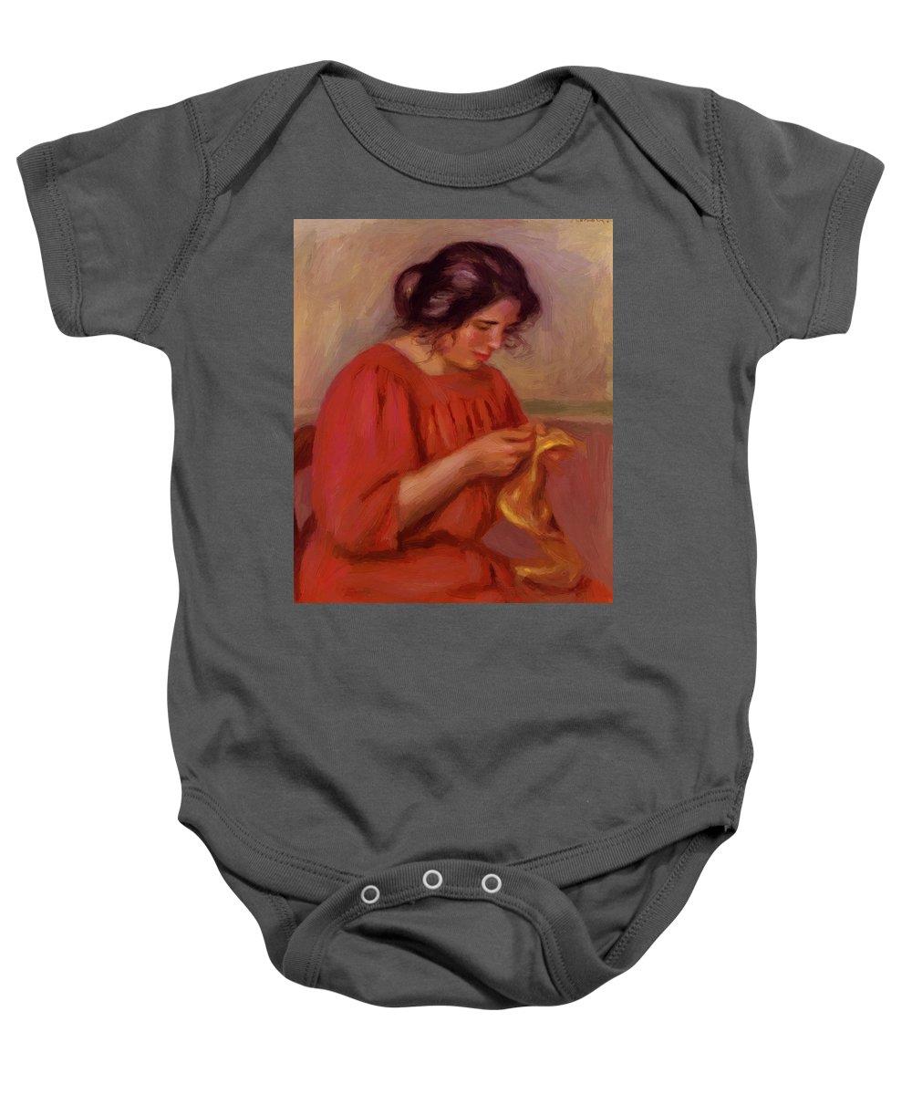 Gabrielle Baby Onesie featuring the painting Gabrielle Mending 1908 by Renoir PierreAuguste