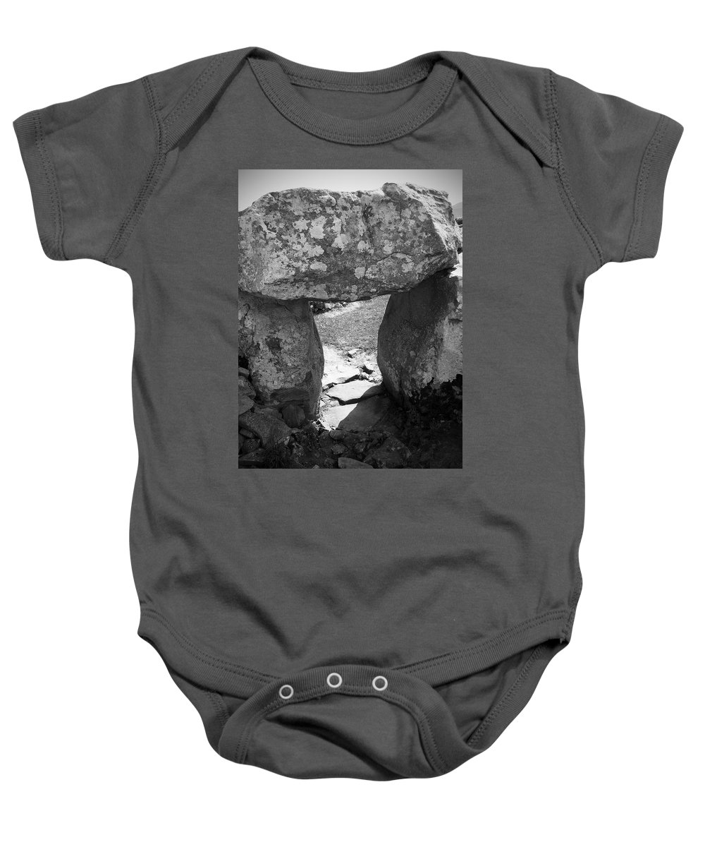 Ireland Baby Onesie featuring the photograph Gallery Entrance At Creevykeel Court Cairn Ireland by Teresa Mucha