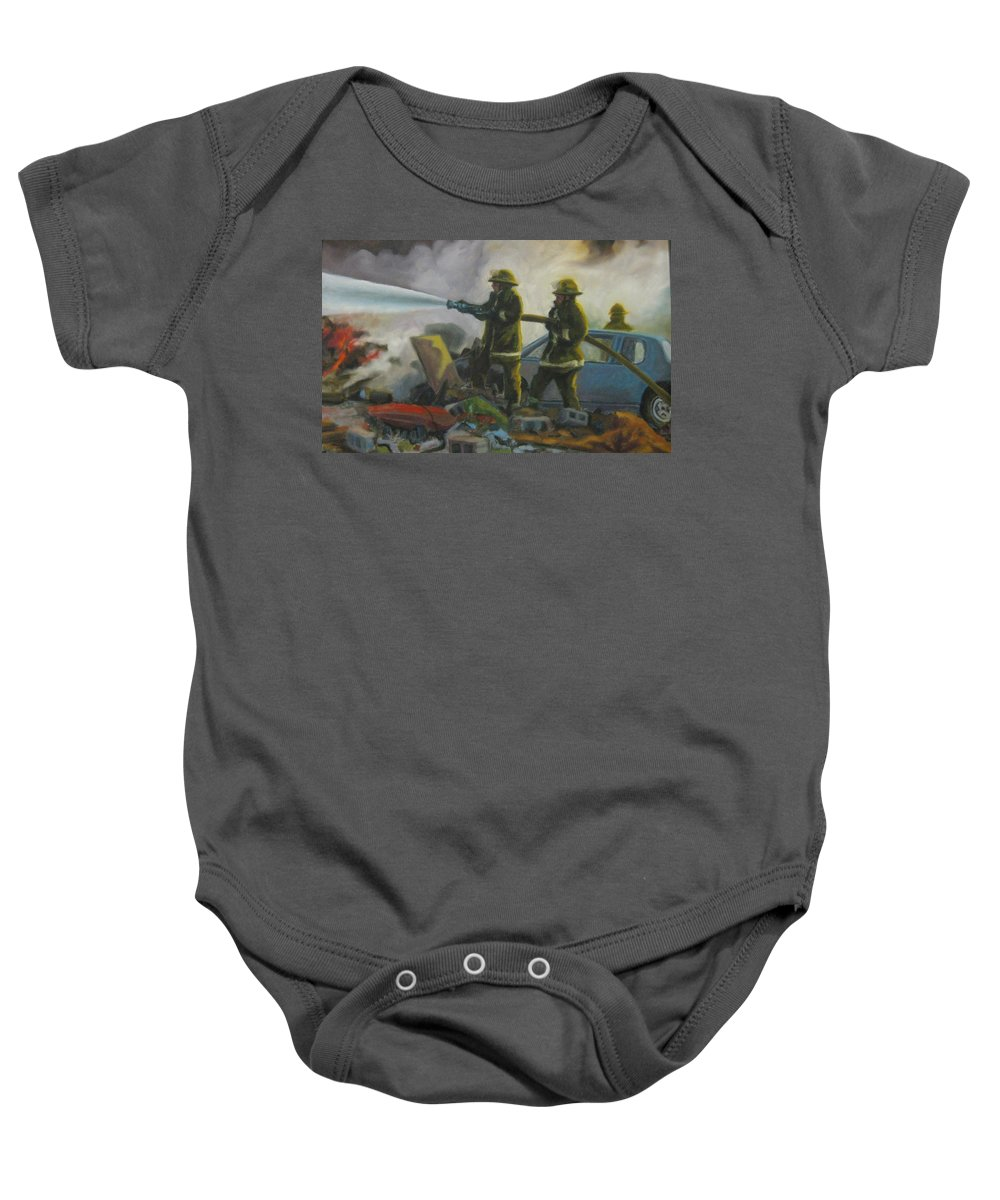 Firefighters Baby Onesie featuring the painting Garage Fire by John Malone
