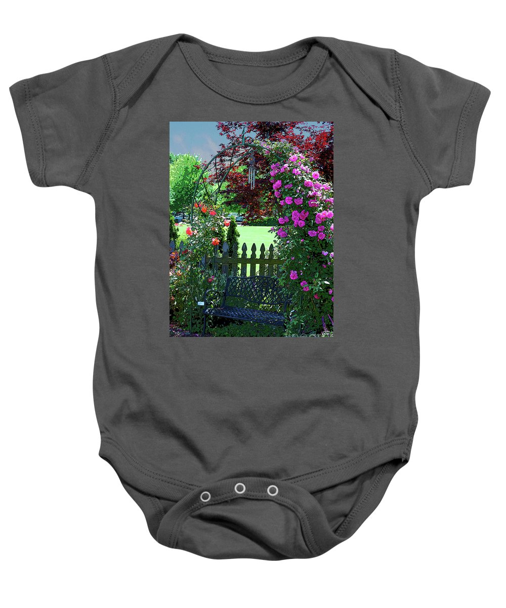 Roses Baby Onesie featuring the photograph Garden Bench And Trellis by Nancy Mueller
