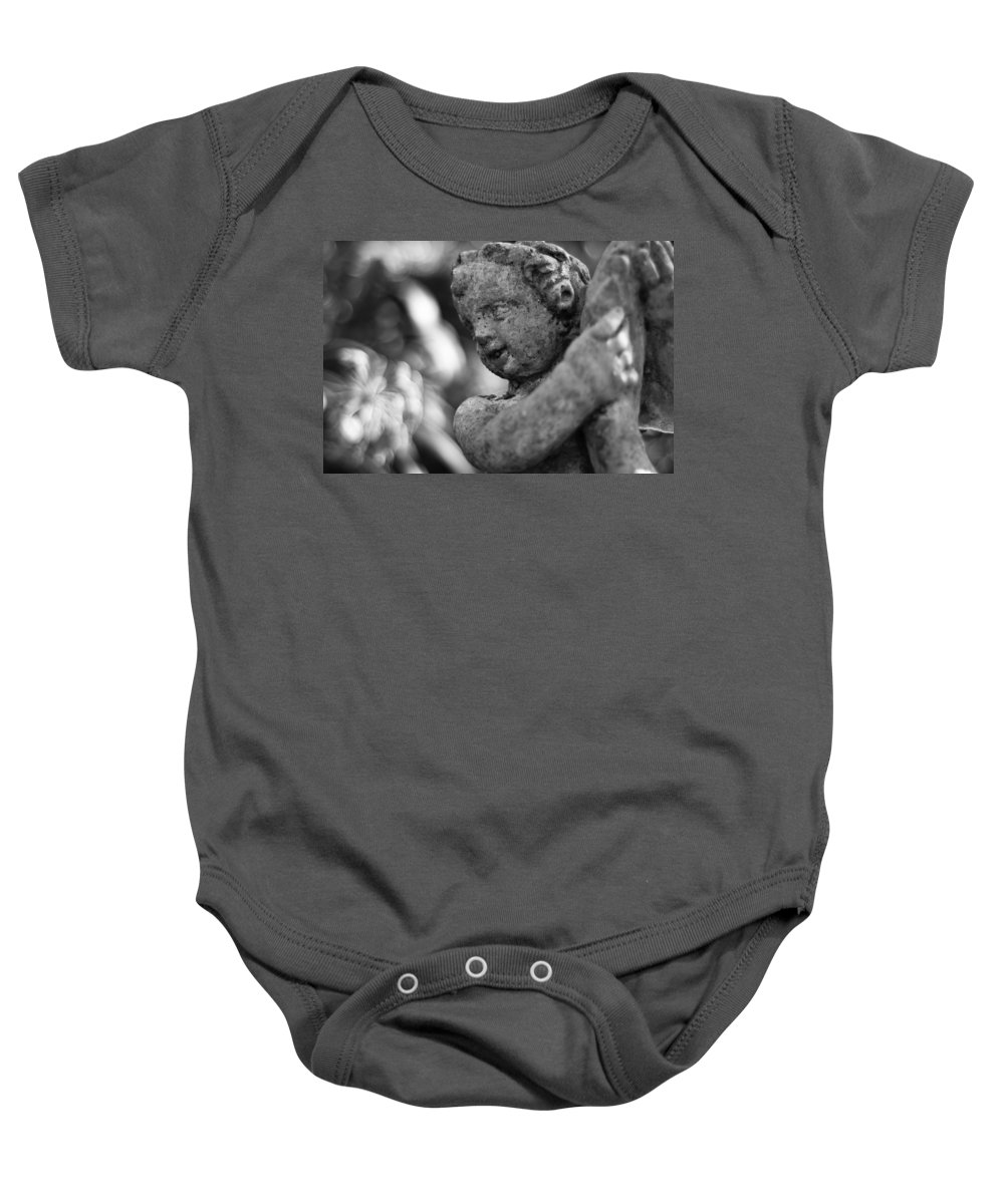 Statue Baby Onesie featuring the photograph Garden Cherub by Rich Leighton