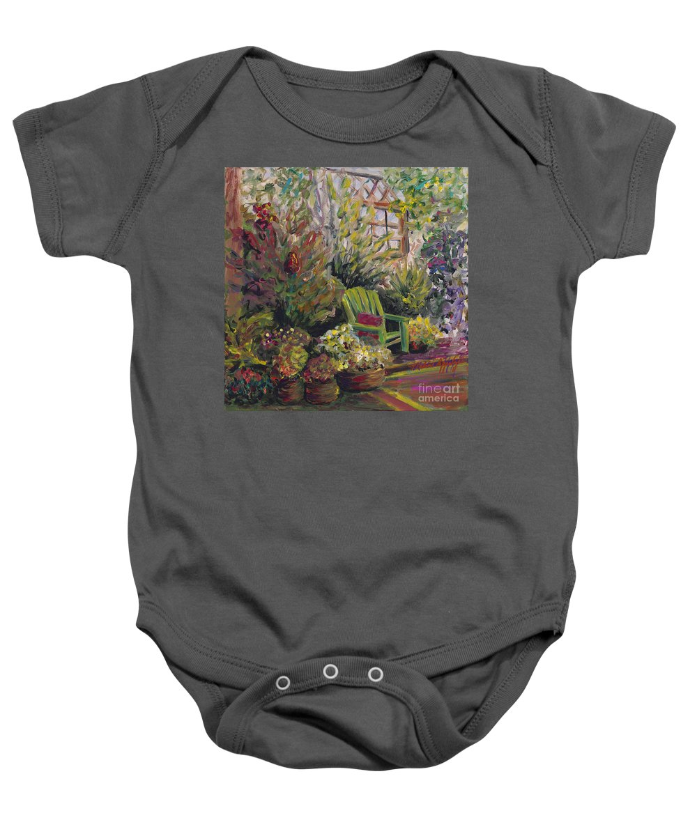 Green Baby Onesie featuring the painting Garden Escape by Nadine Rippelmeyer