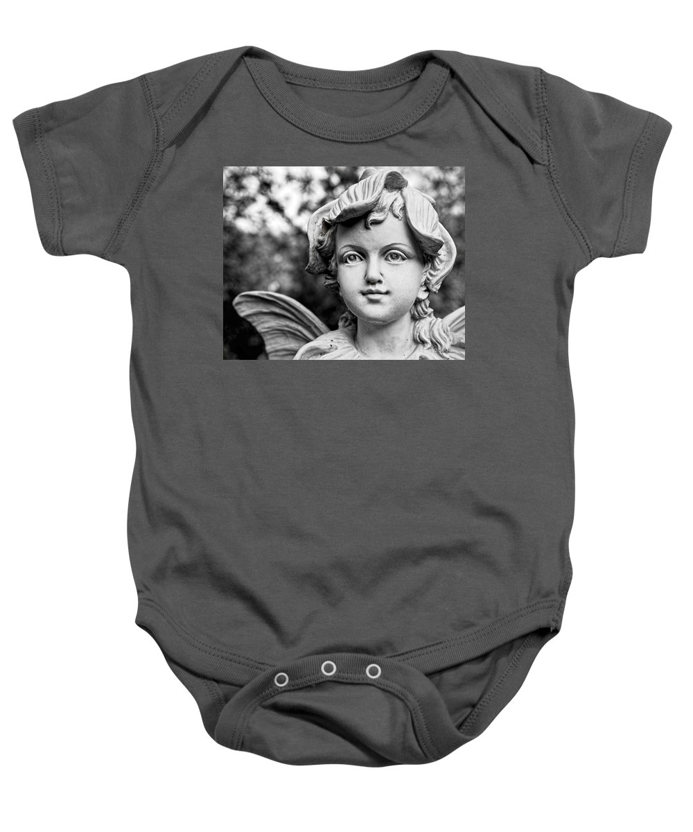 Statue Baby Onesie featuring the photograph Garden Fairy - Bw by Christopher Holmes