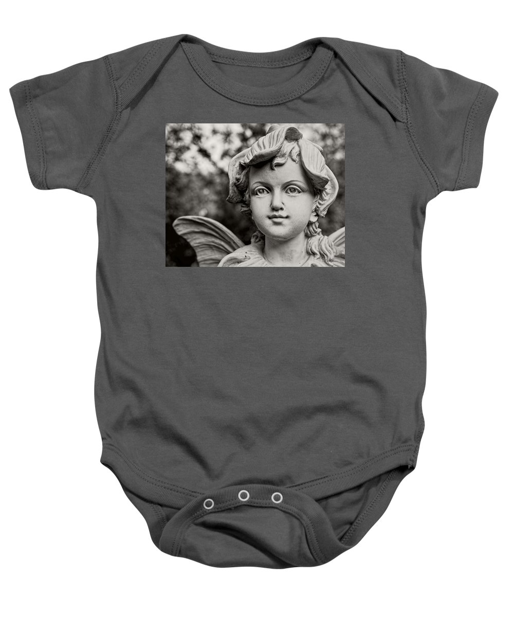 Fairy Baby Onesie featuring the photograph Garden Fairy - Sepia by Christopher Holmes