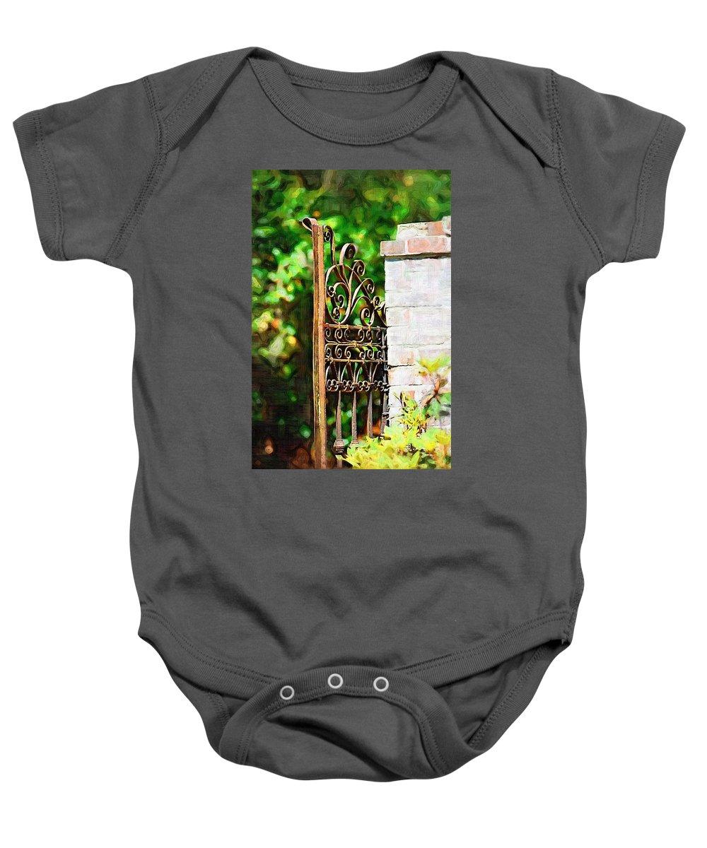 Gardens Baby Onesie featuring the photograph Garden Gate by Donna Bentley