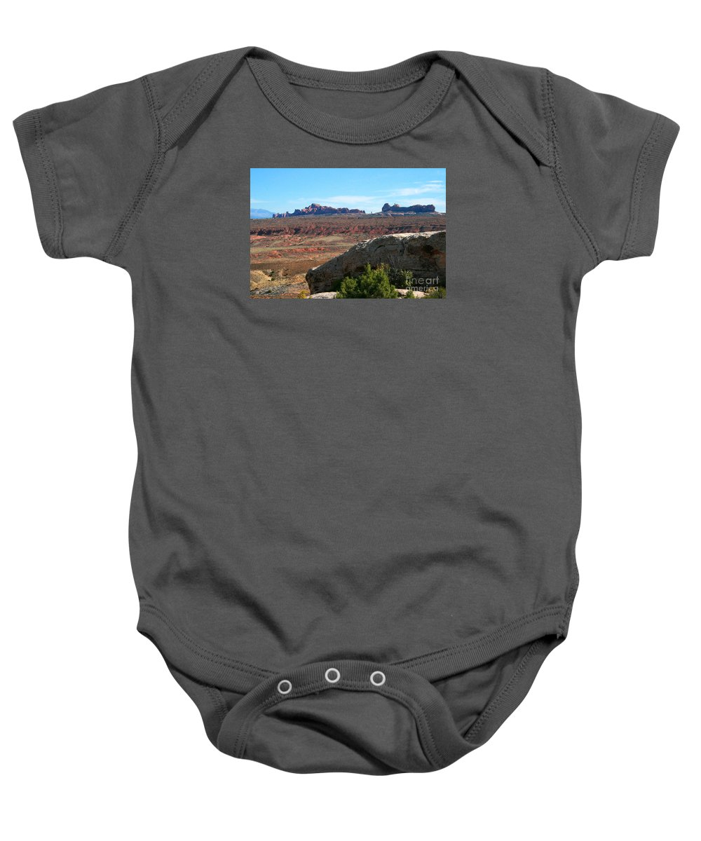 Arches National Park Baby Onesie featuring the painting Garden Of Eden Rock Formations, Arches National Park, Moab Utah by Corey Ford