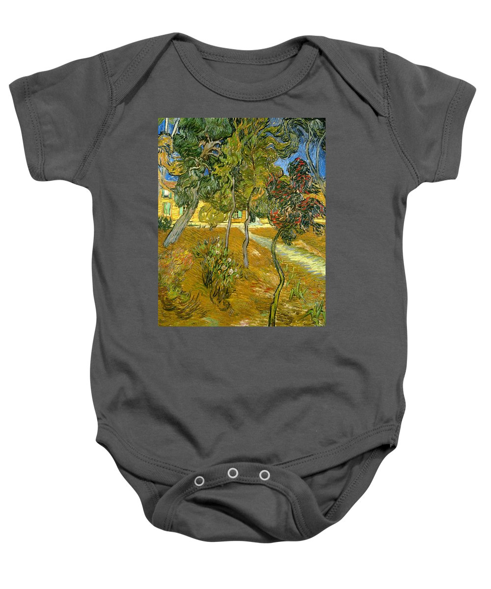 Garden Baby Onesie featuring the painting Garden Of Saint Paul's Hospital by Vincent van Gogh