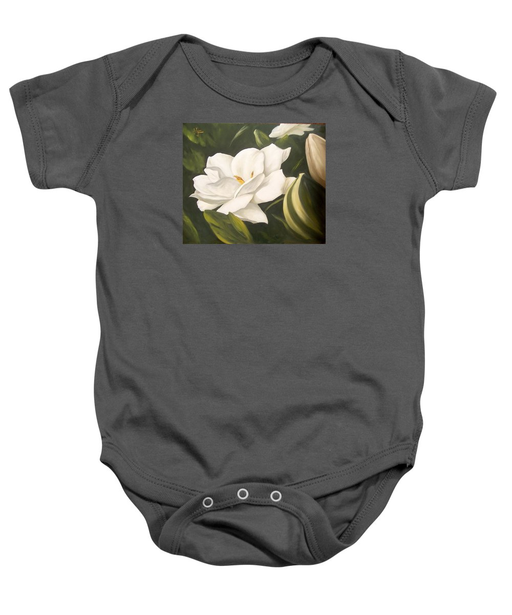 Gardenia Flower Baby Onesie featuring the painting Gardenia by Natalia Tejera