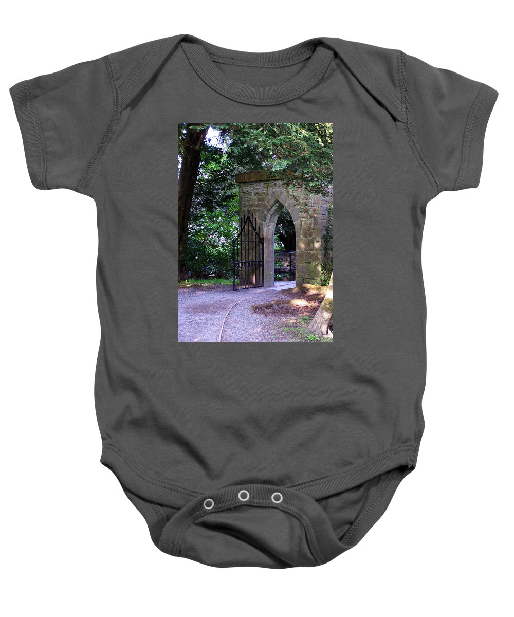 Irish Baby Onesie featuring the photograph Gate At Cong Abbey Cong Ireland by Teresa Mucha