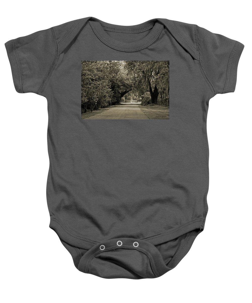 Plantation Baby Onesie featuring the digital art Gate To Magnolia Plantation by DigiArt Diaries by Vicky B Fuller