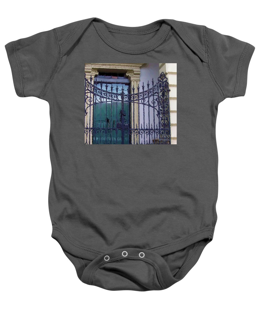 Gate Baby Onesie featuring the photograph Gated by Debbi Granruth