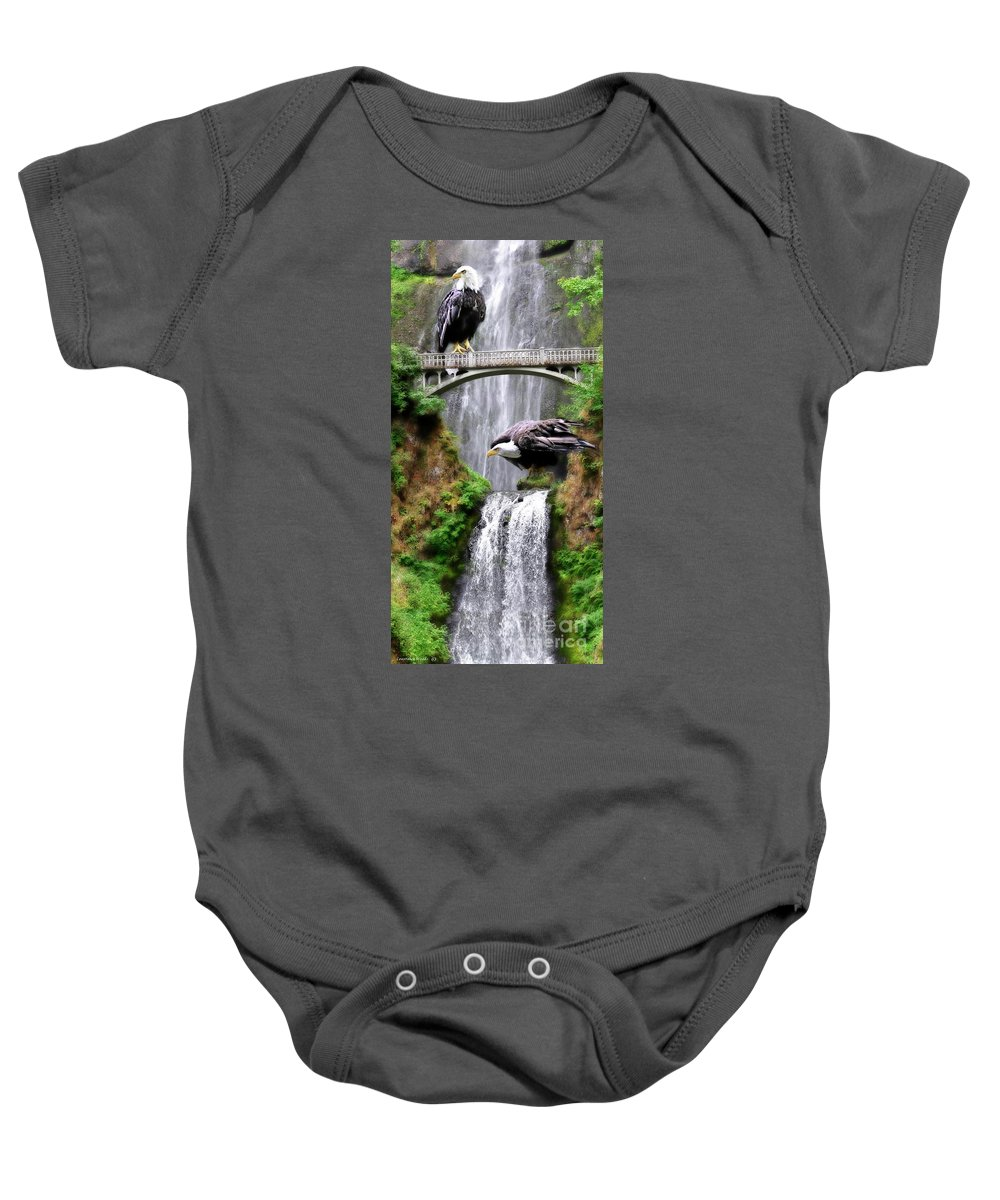 Eagles Baby Onesie featuring the painting Gathering Of Eagles by Constance Woods