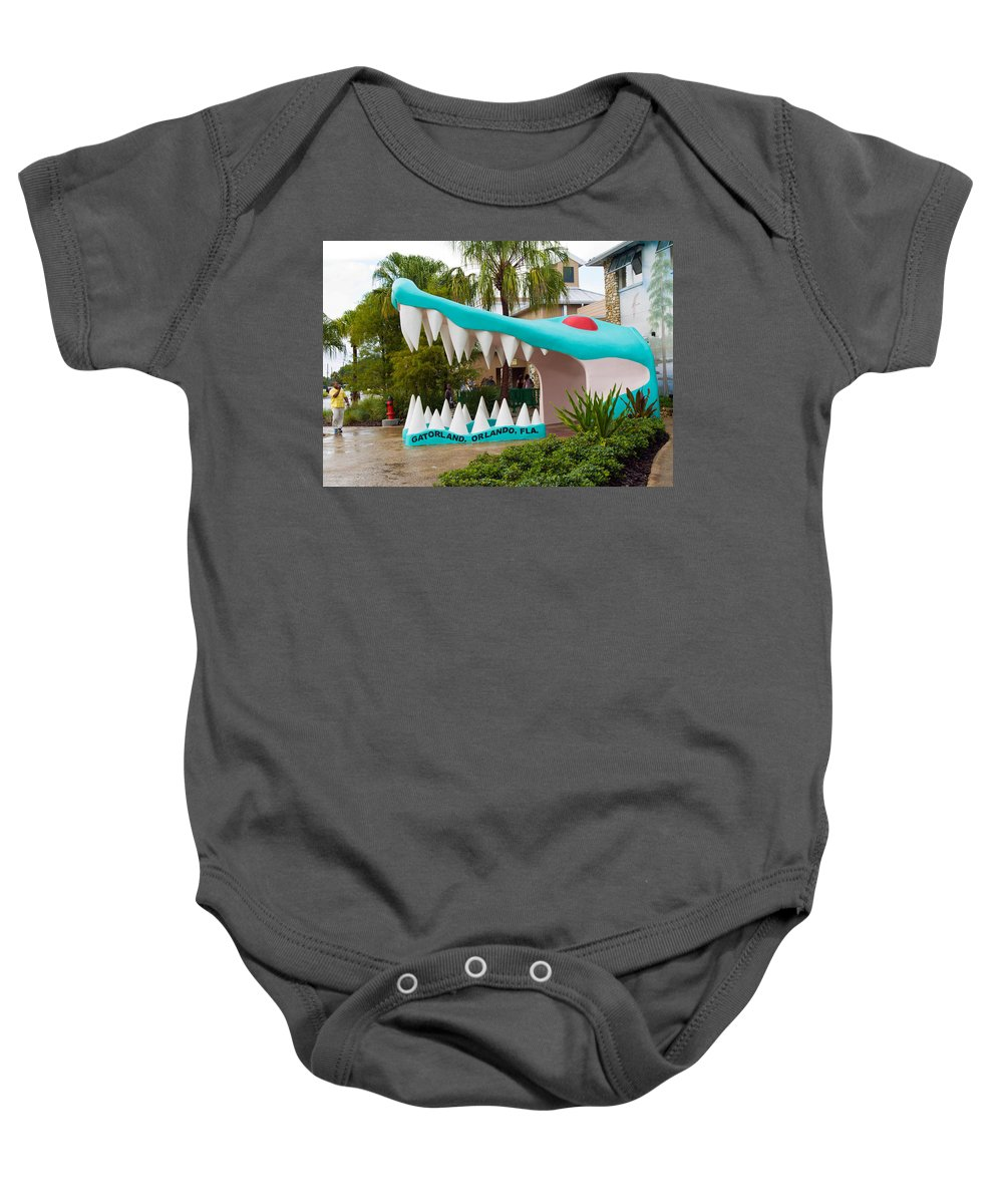 Baby Onesie featuring the photograph Gatorland In Kissimmee Is Just South Of Orlando In Florida by Allan Hughes