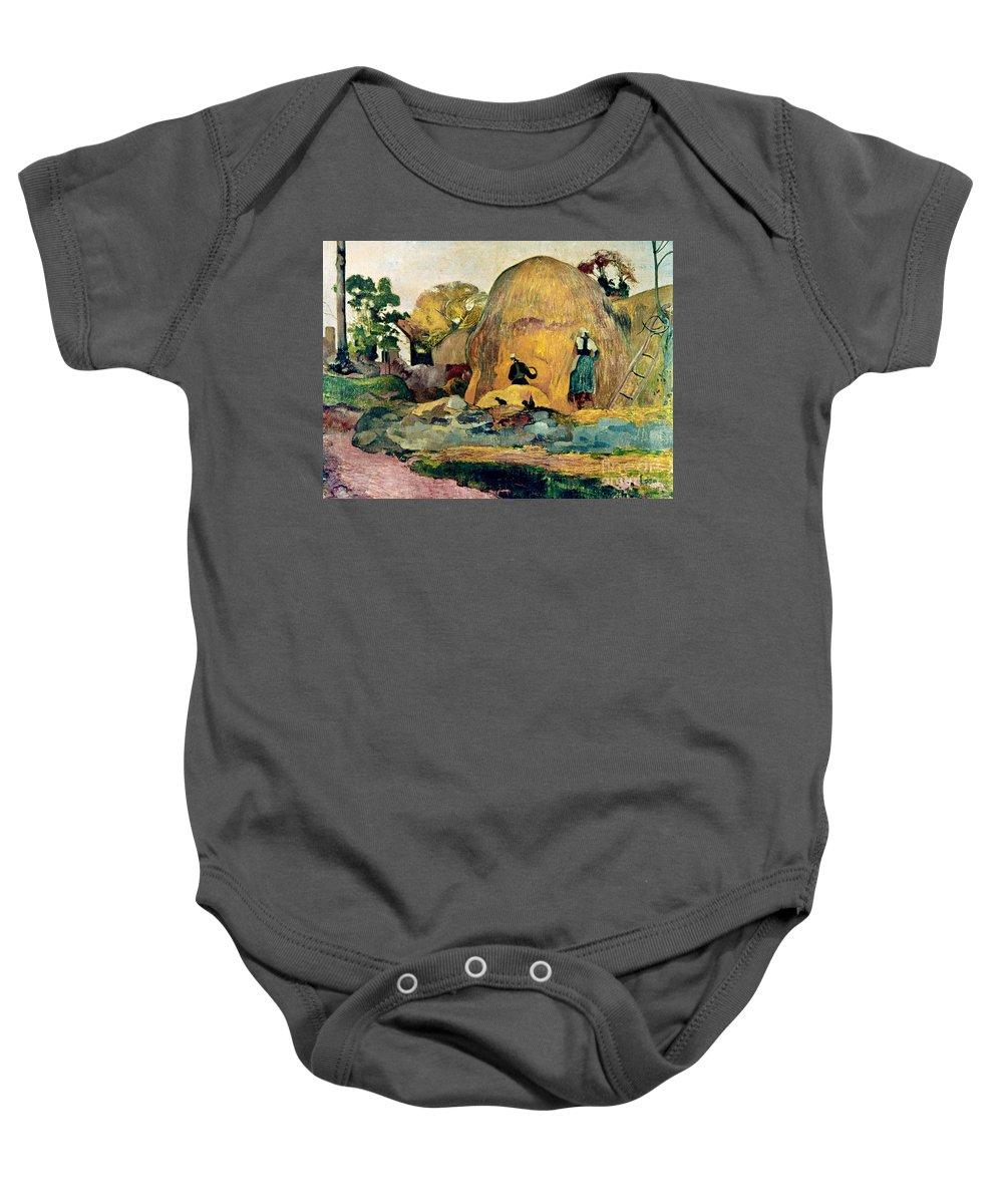 1889 Baby Onesie featuring the photograph Gauguin: Haystacks, 1889 by Granger