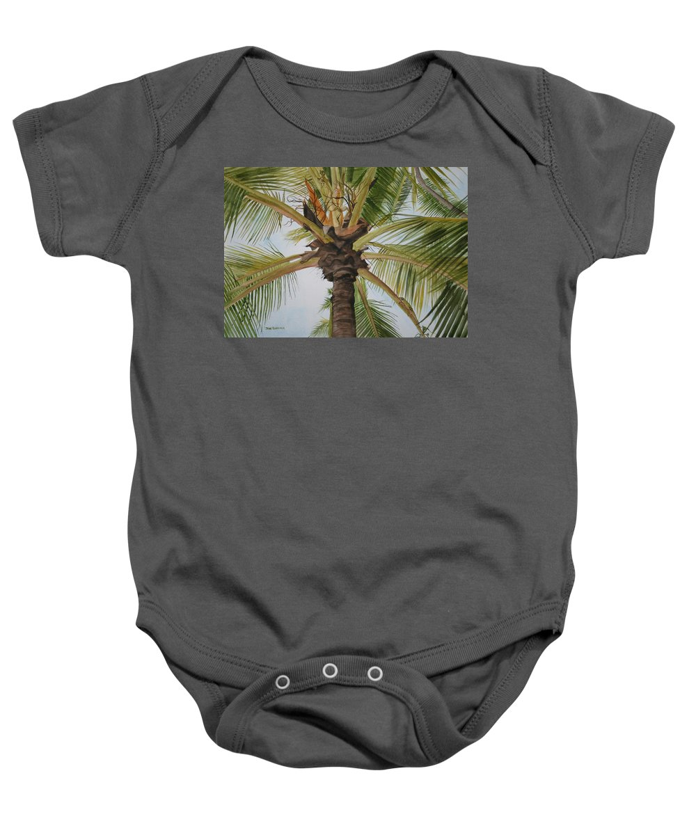 Palm Tree Baby Onesie featuring the painting Gecko Heaven by Jean Blackmer
